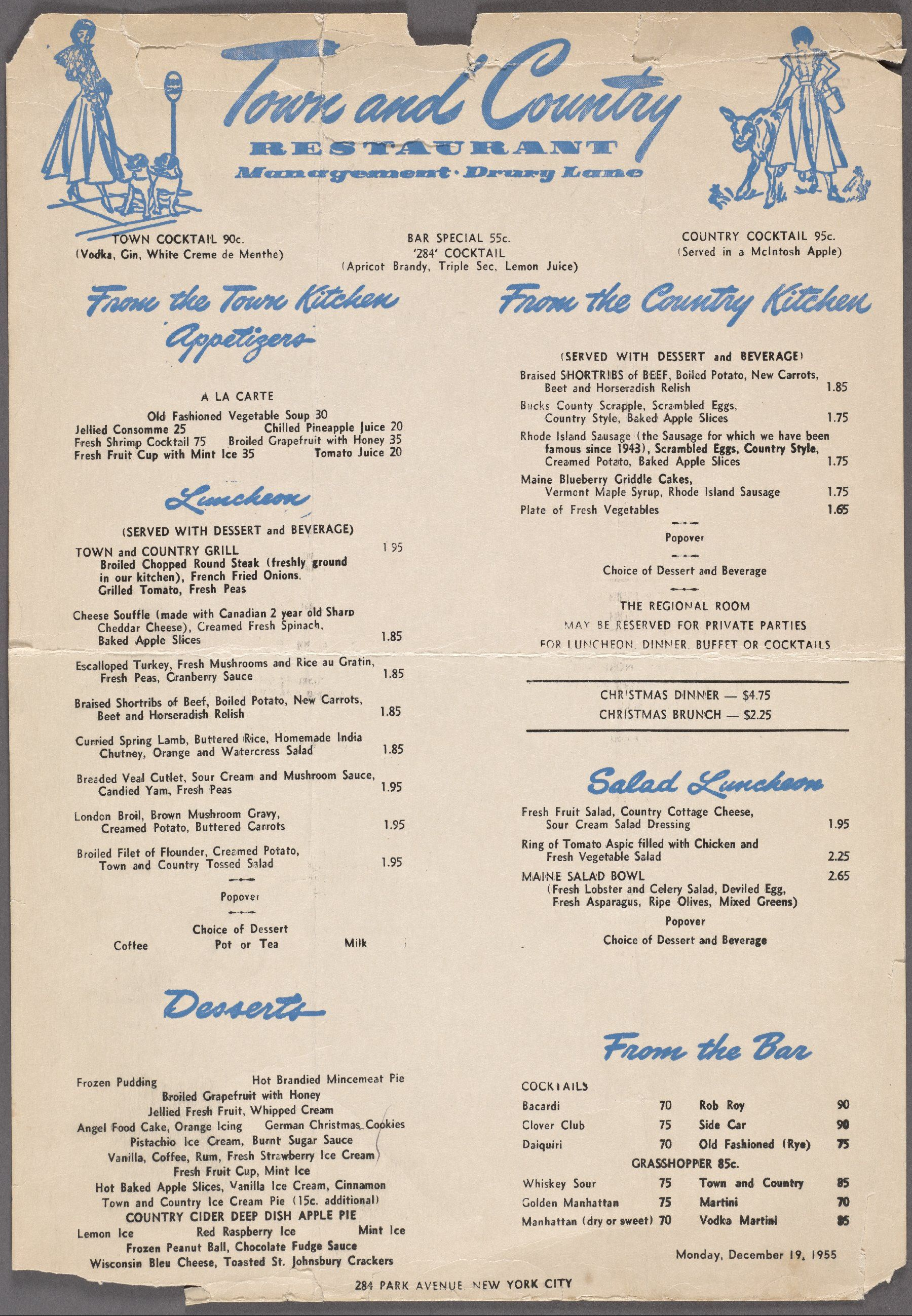Town and Country Restaurant, Park Avenue, NYC, Dec 19, 1955. | Menus ...