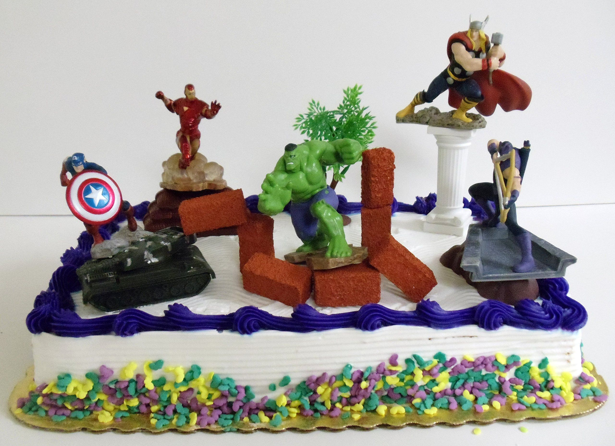 Avengers 15 piece birthday cake topper set featuring