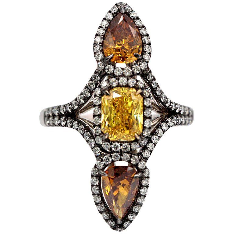 Three Fancy Color Diamonds Ring 349 Carat Total Vivid Yellow Deep