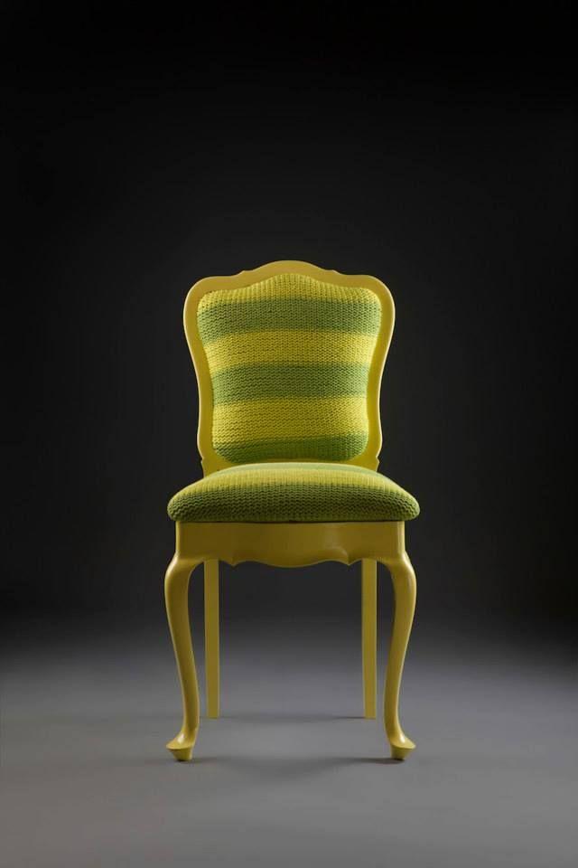 Cadeira Chipandelle, anos 50 em madeira de lei. Estofado tricotado à mão em aproximadamente 20h de trabalho.  www.reginamisk.com.br https://www.facebook.com/inventivebureau