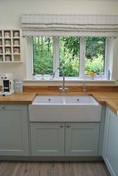 Cherry Wood Worktops In Duck Egg Blue Kitchen Google Search