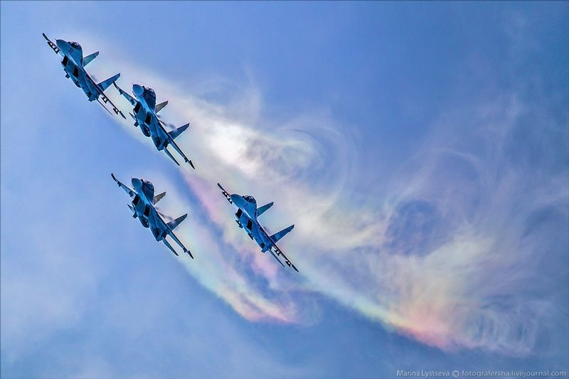 Russian SU planes on MAKS 2015 Russian Air Show
