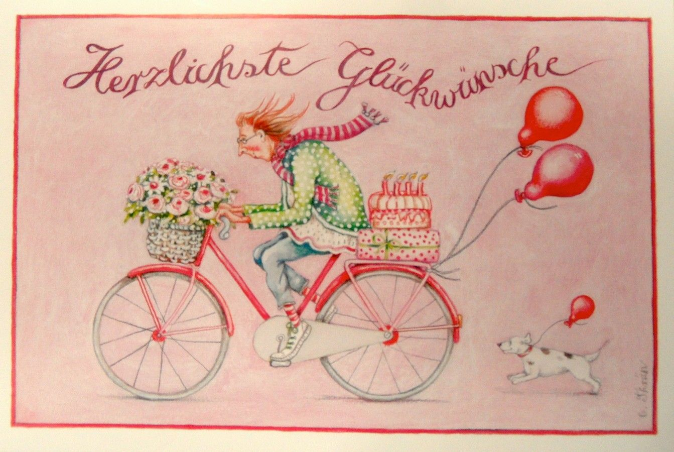 Christina Thran Briefkarte Herzlichste Gluckwunsche