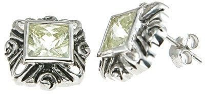 Sterling Silver Rhodium Finish Simulated Tourmaline Princess Antique Style Earrings
