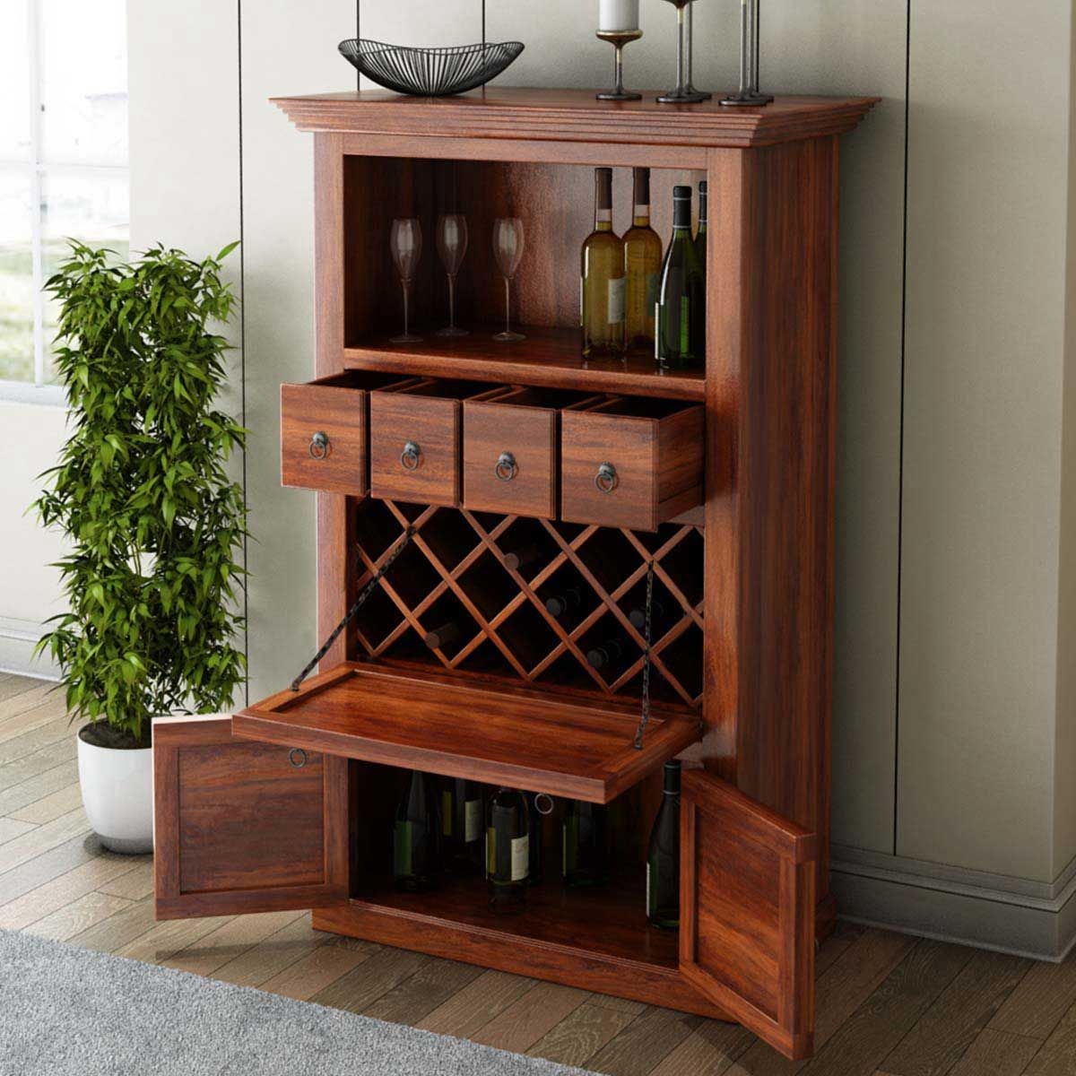 Alabama spacious handcrafted solid wood bar cabinet with wine storage
