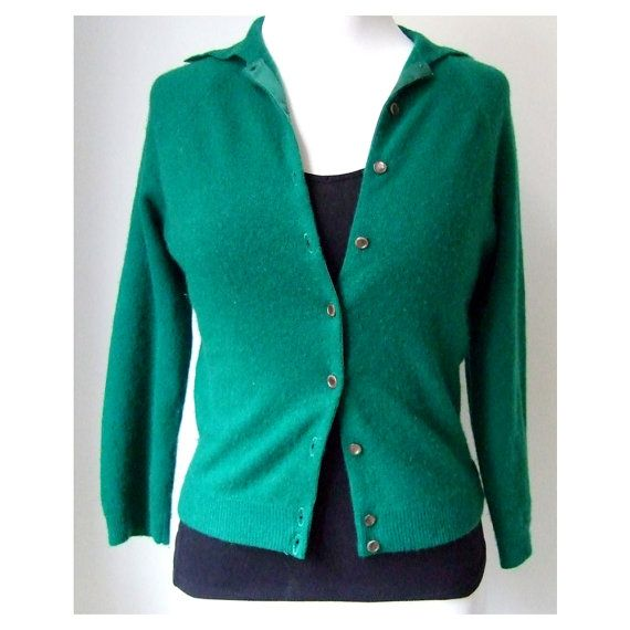 Emerald Green Cashmere Cardigan - 1960's Cardigan - Cashmere ...