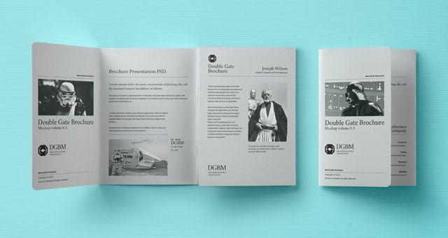 double gate brochure mockup Free CU\/PU Mock Ups\/ Digital - gate fold brochure mockup