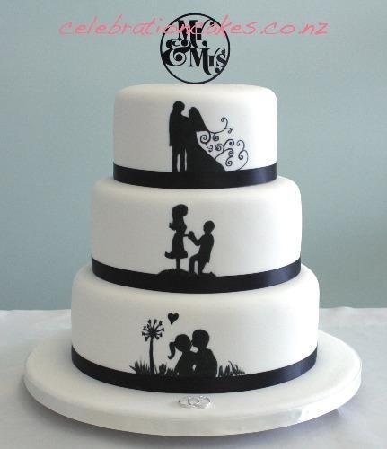 3 Tier Silhouette Silohuette Wedding Cake