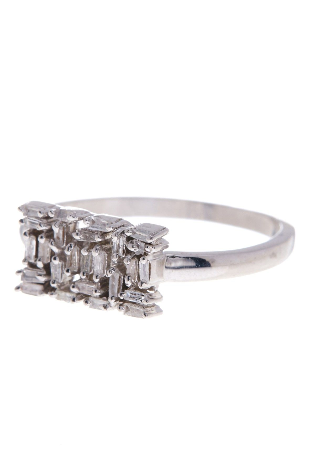 Sterling Silver Baguette Diamond Rectangle Ring - 0.25 ctw