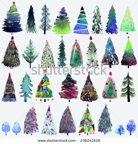 Big Collection Of Watercolor Christmas Tree Isolated On A White