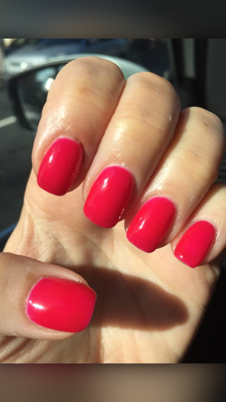 Red acrylic nails double team dynamicpunch amazing powerful