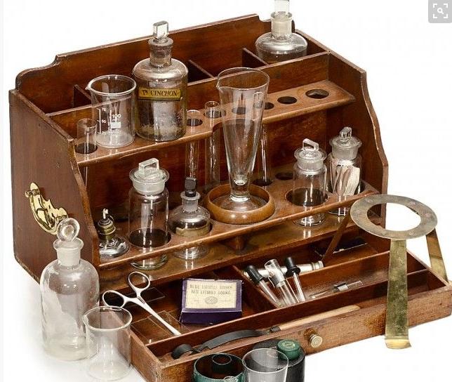 Antique Science Instruments : Science antique lab portable chemistry equipment