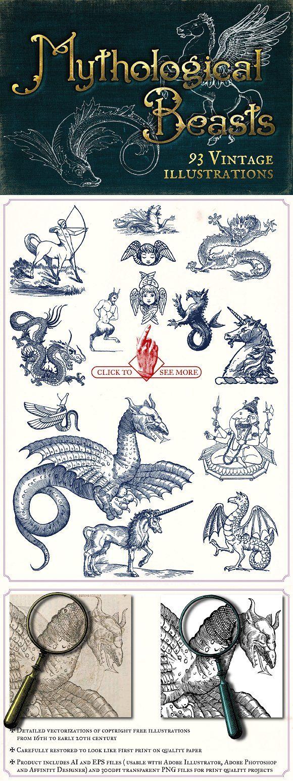 Vintage Mythological Beasts by Mr Vintage on creativemarket