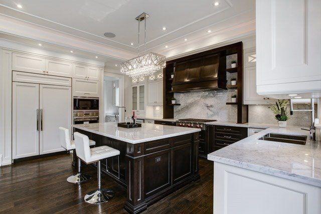 Designer Kitchen, Marble Slab Counters & Backsplash