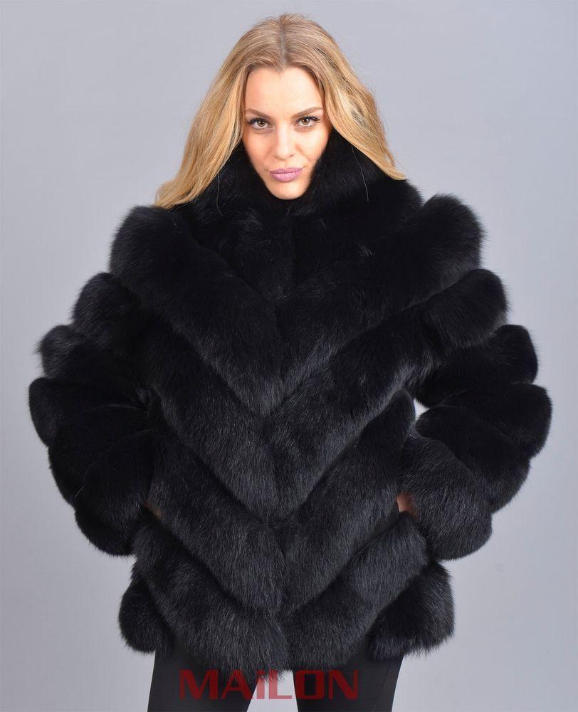 Exclusive brand new black saga fox fur jacket coat fuchs lynx ...