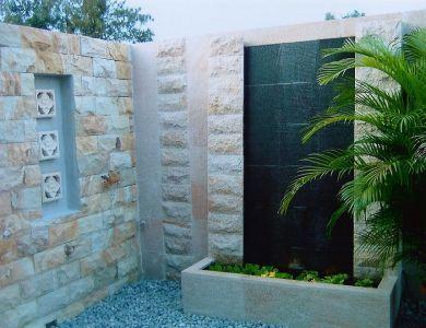 Charmant Modern Wall Fountain, Flat Stone Sheet For Cascade. Donu0027t Like Stone.