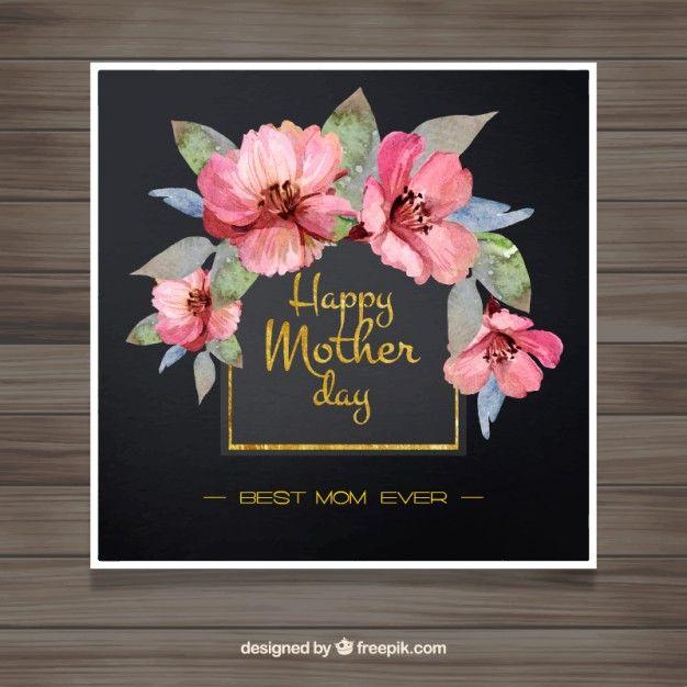 Cartão do dia de mãe elegante com flores cor de rosa da aguarela Vetor Premium