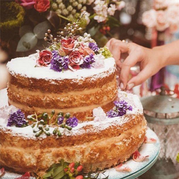 decoraç u00e3o de bolo com flores naked cake Pesquisa Google Decoraç u00e3o de Festas Bolo, Bolo de  -> Decoração De Bolo Com Flor Natural