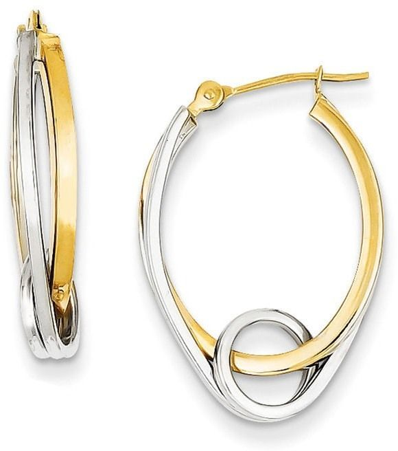 Looping Oval Hoop Earrings In 14k Two Tone Gold Crafts And Products