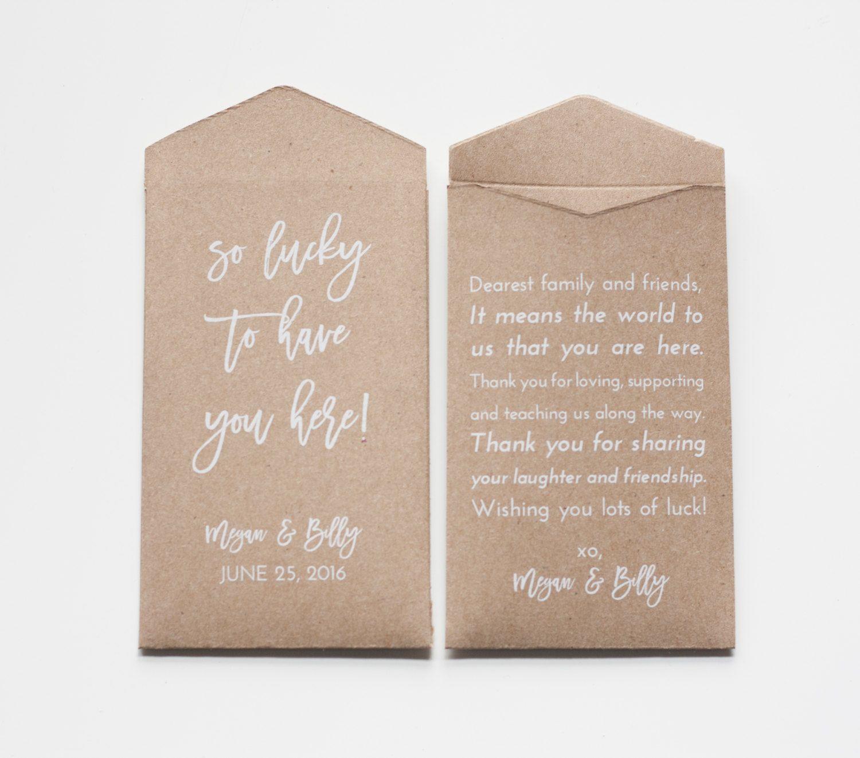Custom Kraft Lottery Ticket Wedding Favor Packet Envelopes - Vegas ...