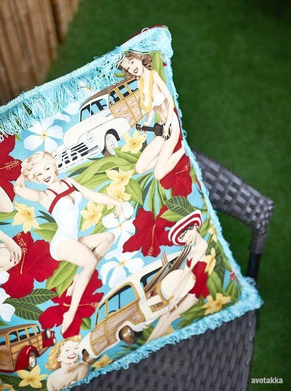 My tiki balcony. I made the pillow cover myself.