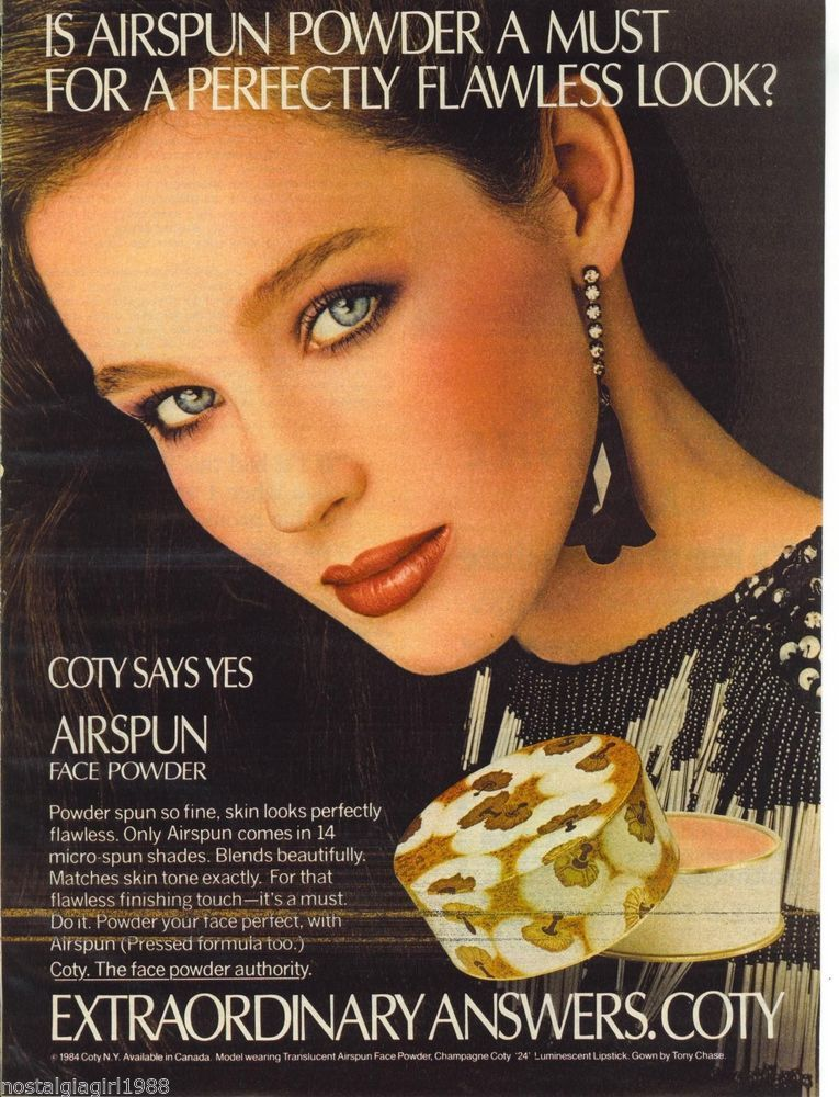 1984 AD Coty Airspun Face Powder Young Woman Model ...