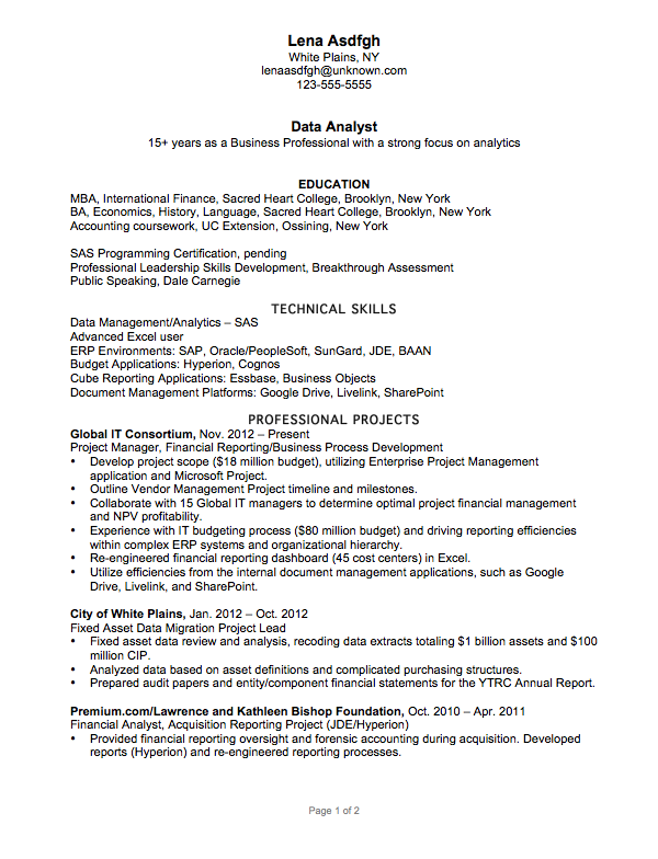 Resume Example For A Data Analyst Susan Ireland Resumes