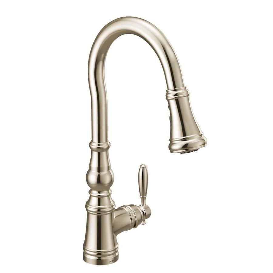 Moen Weymouth Polished Nickel 1 Handle Deck Mount High Arc Handle Lever Commercial Reside Pulldown Kitchen Faucets Kitchen Handles Single Handle Kitchen Faucet