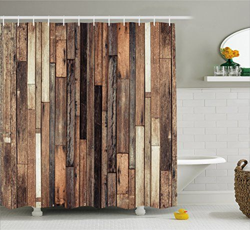 Bathroom Rugs Ideas Wooden Shower Curtain Set By Ambesonne Brown