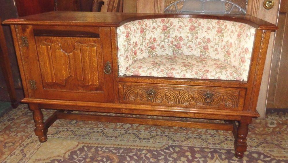 TOO COOL MCM Telephone / Gossip Bench Sofa Chair W Storage Cabinet & Drawer VGC #Edwardian