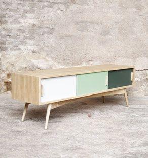 Creation sur mesure meuble tv chene 3 portes 150cm ref mtv 07