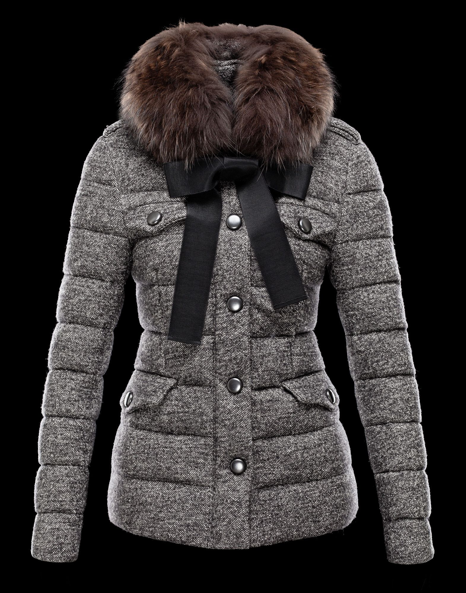 Moncler Cachalot Designer Jacket Down Women Short Grey Onlin