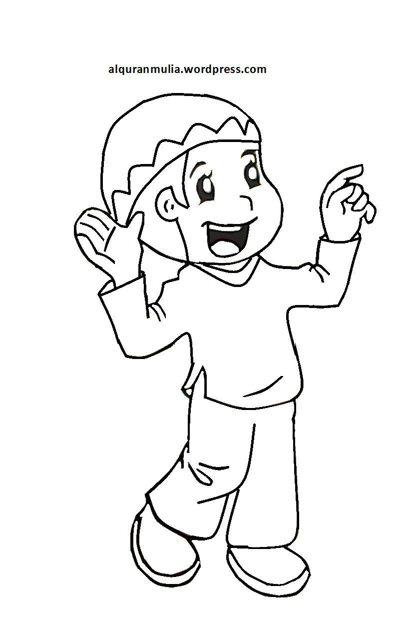 Mewarnai Gambar Kartun Anak Muslim 27 Alquranmulia