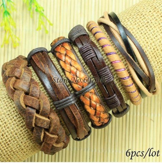 кожаные плетеные браслеты набор винтаж 6 штук Vintage Pinterest