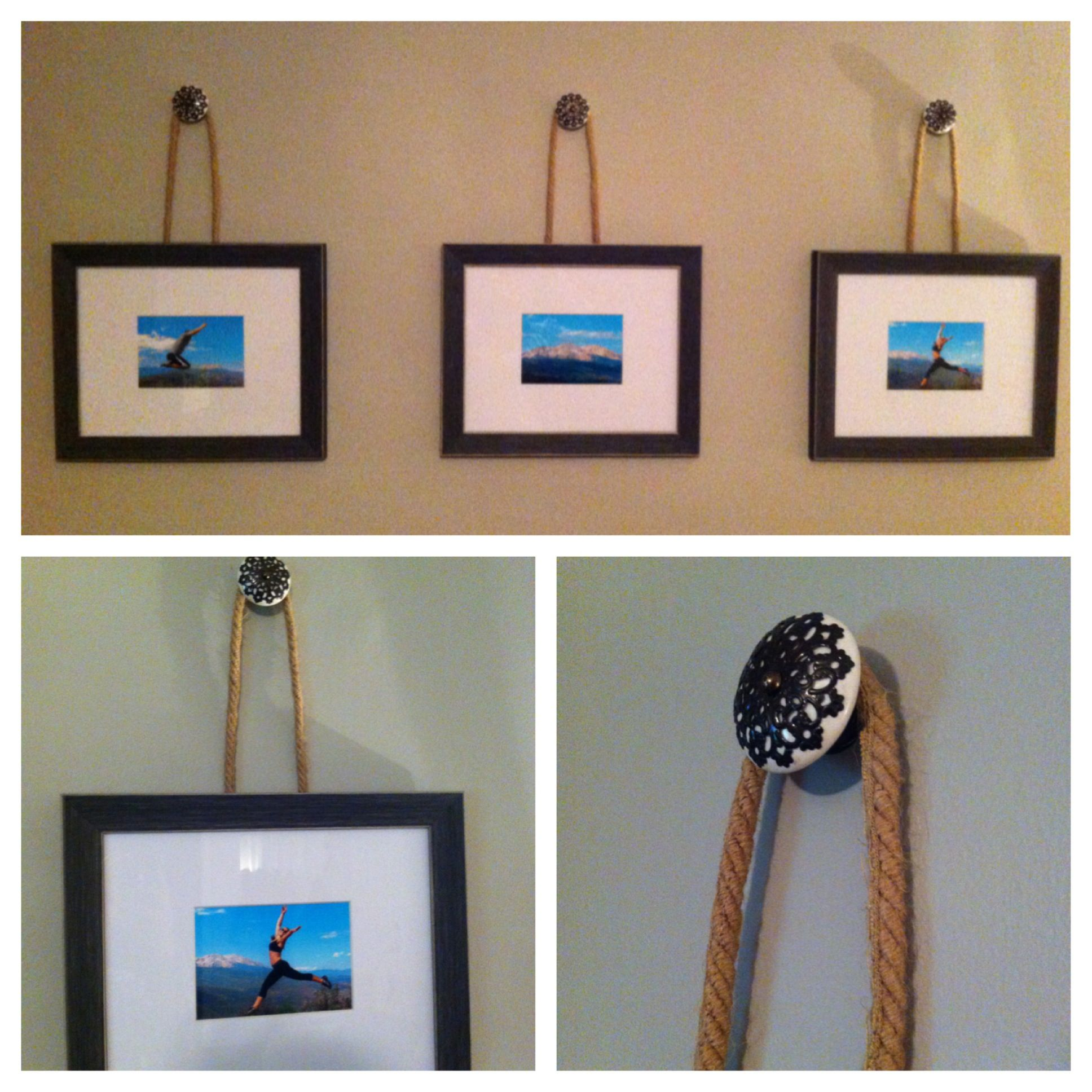 Frames on decorative knobs with rope (my DIY Pottery Barn project)