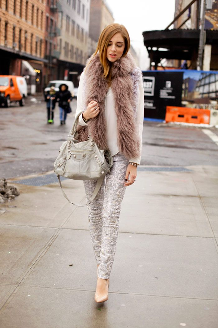 #NYFW #StreetStyle PHILOSOPHY BY NATALIE RATABESI FUR VEST _ CHRISTIAN LOUBOUTIN NUDE PIGALLE SHOES _ DL1961 LIMITED EDITION EMBROIDERED JEANS _ BALENCIAGA BAG