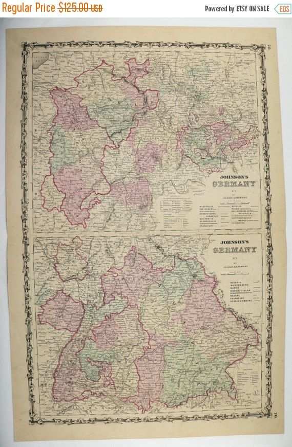Map Of Germany For Sale.Original 1800s Germany Map 1861 Johnson Map Western Germany