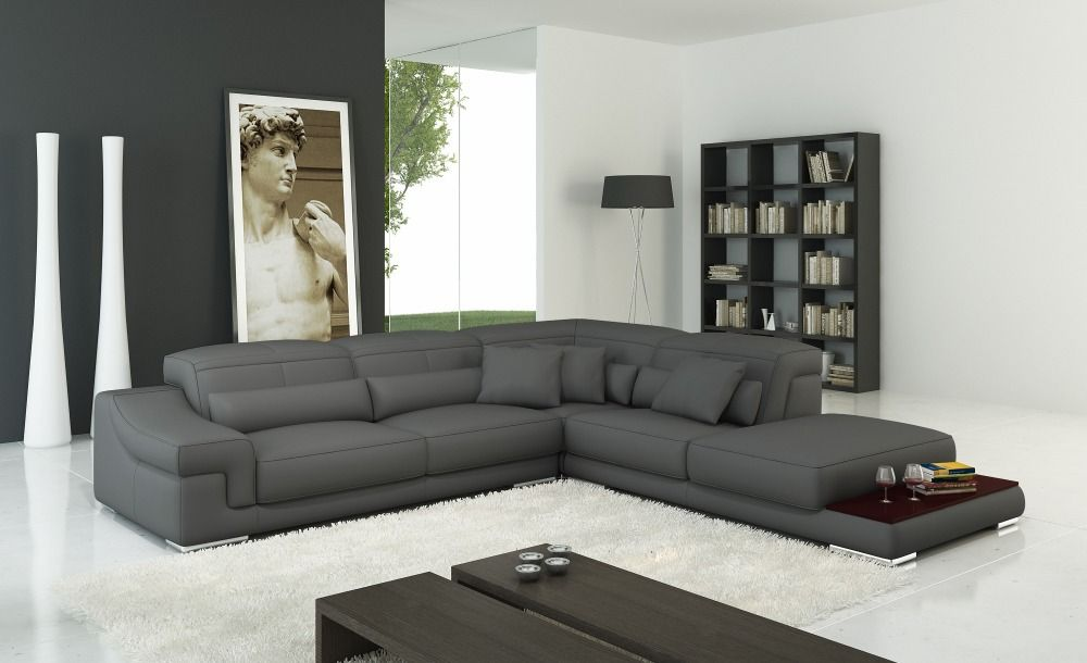 Grey Italy Leather Sofa For Living Room Modern Living Room