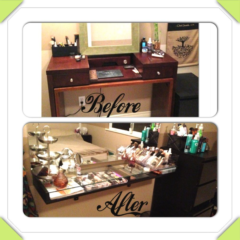 Makeup vanity diy before and after beauty on a budget for Diy vanity cabinet