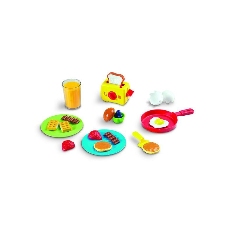 Pretend & Play® Rise & Shine Breakfast Set Start the day with imaginative play! Tune fine motor and social skills as children work together to crack open the egg, flip pancakes, fill the muffin with f
