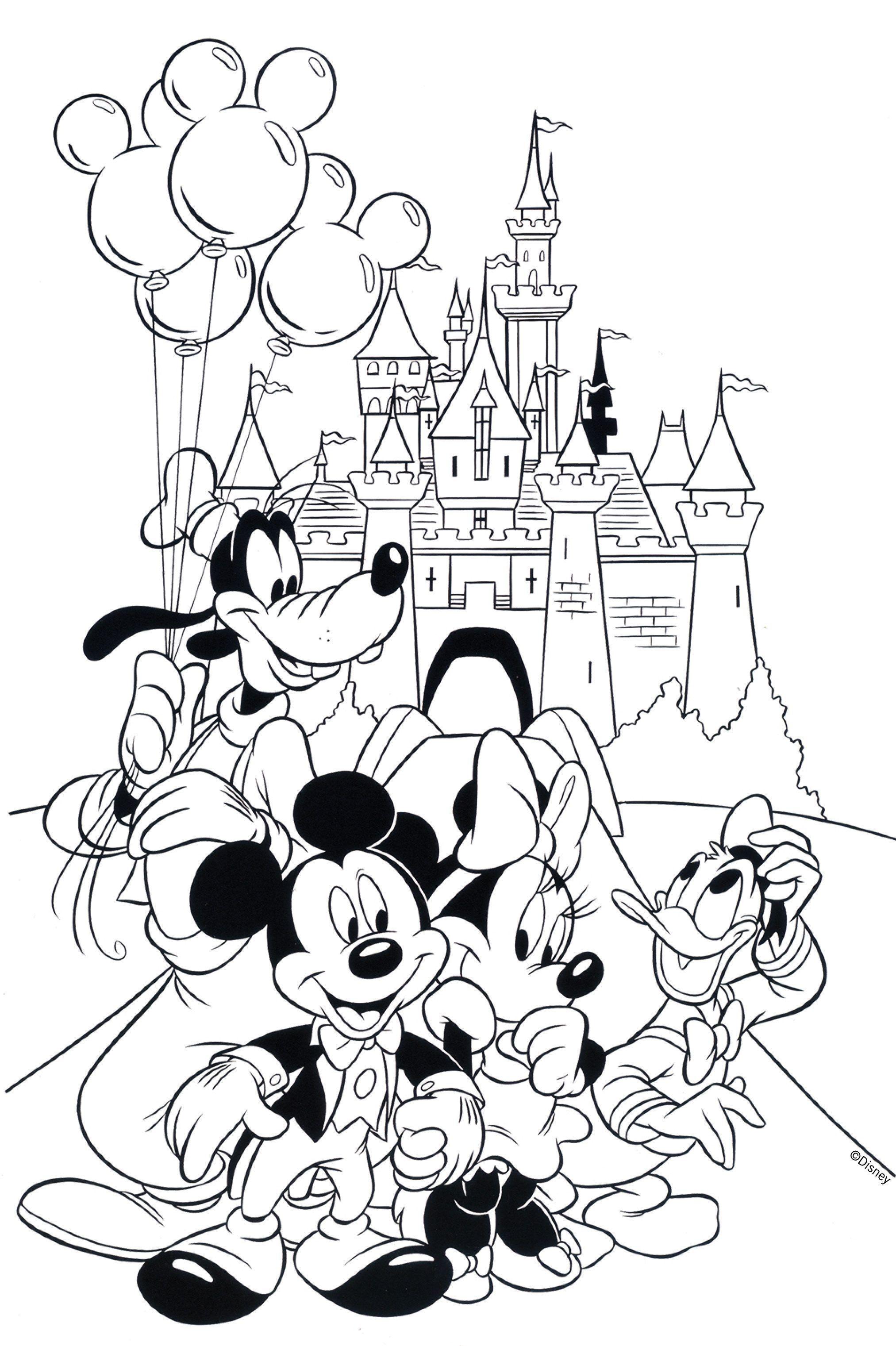 Disneyland Coloring Mickey Coloring Pages Cartoon Coloring