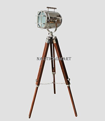 Tripod Floor Lamp Nautical Spotlight Vintage Studio Wooden LED Light Home /& Office