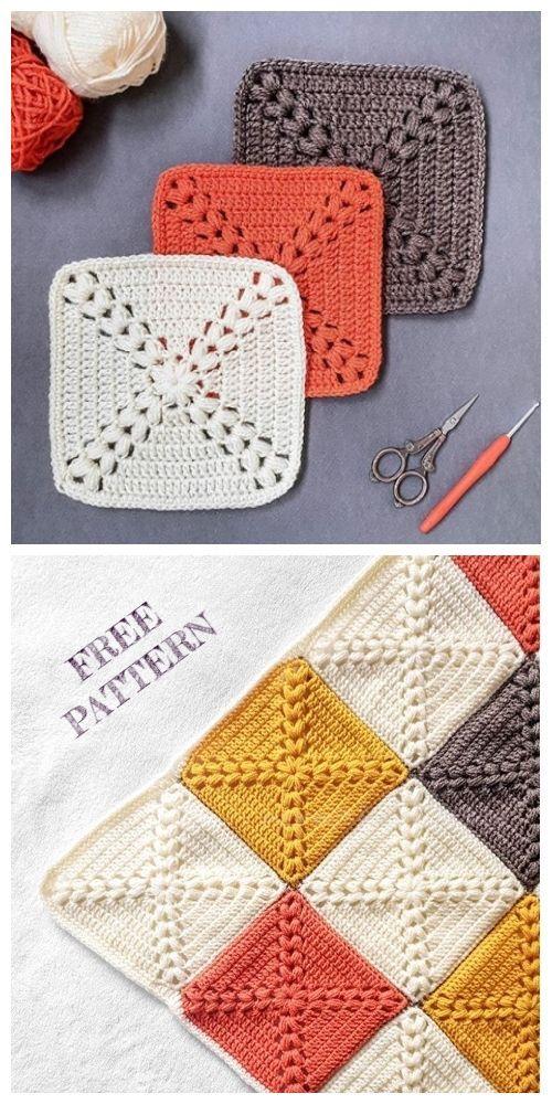 Couverture carrée Granny Farmhouse Patron de crochet gratuit + vidéo   – Fashion