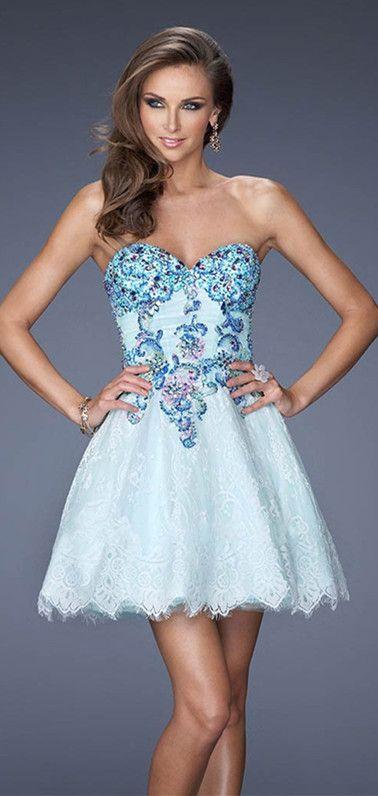 Short Prom Dresses Blue or Tan