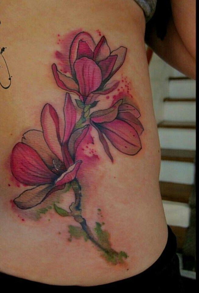 Watercolour flower tattoo | Magnolia tattoo, Flower tattoo ...