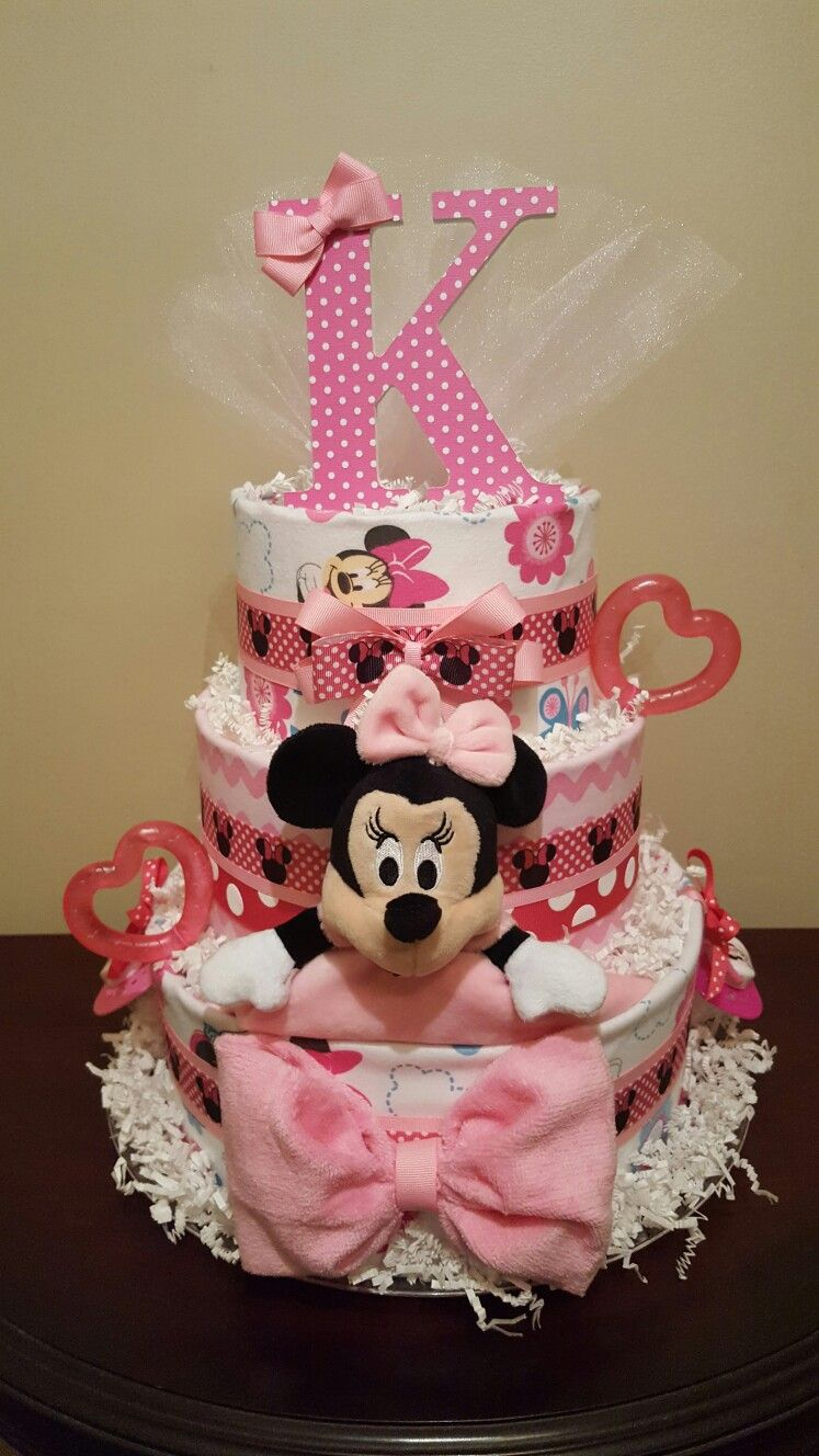 minnie mouse diaper cake cute baby shower centerpiece there s rh pinterest com