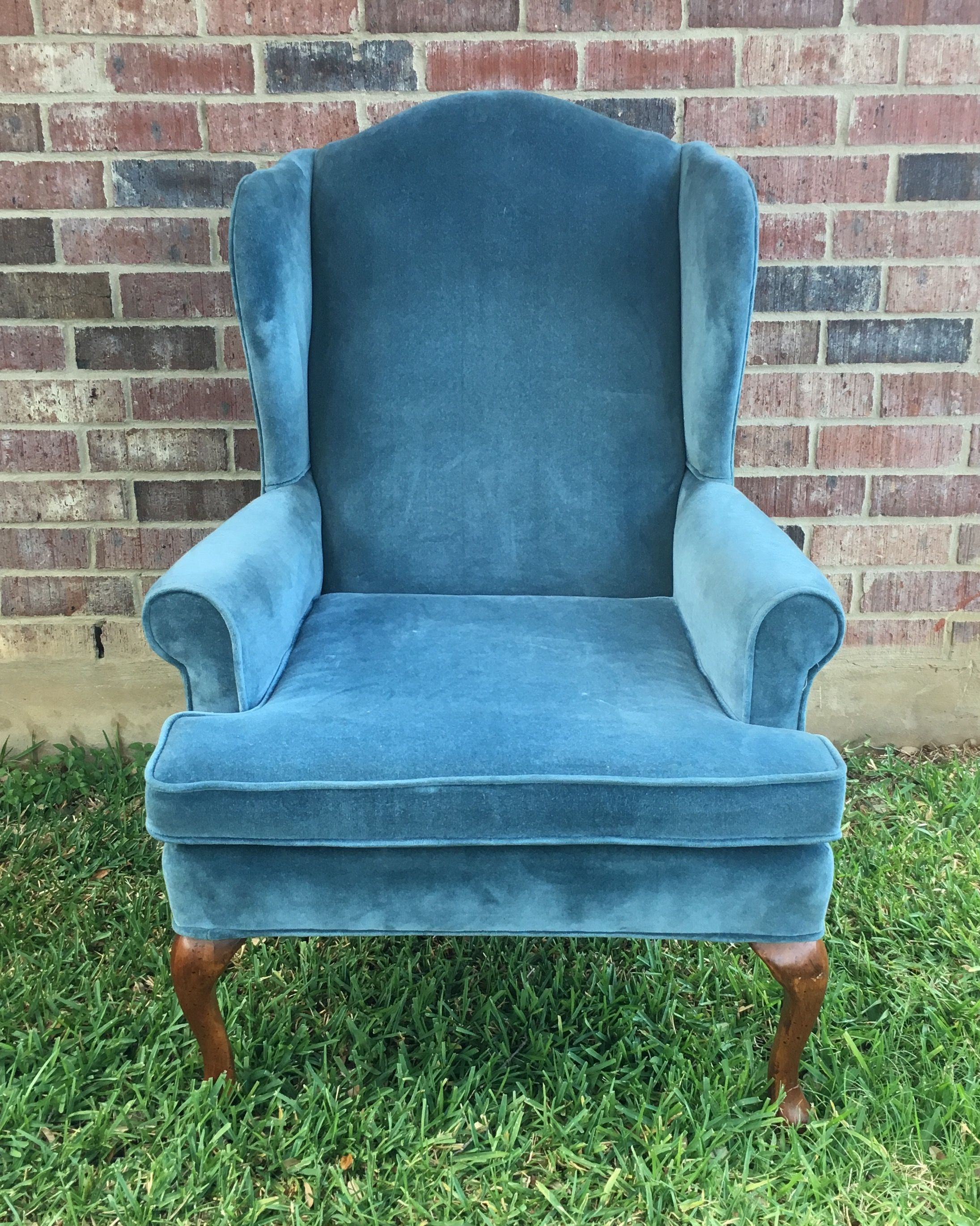 Best Gladys Blue Suede Velvet Wing Back Chair Chair 400 x 300