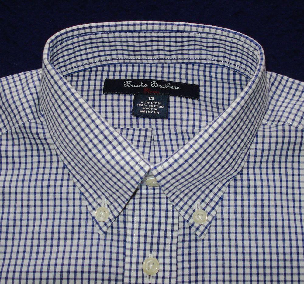 Boys Brooks Brothers Non Iron Cross Striped Shirt Size 12 Nwt