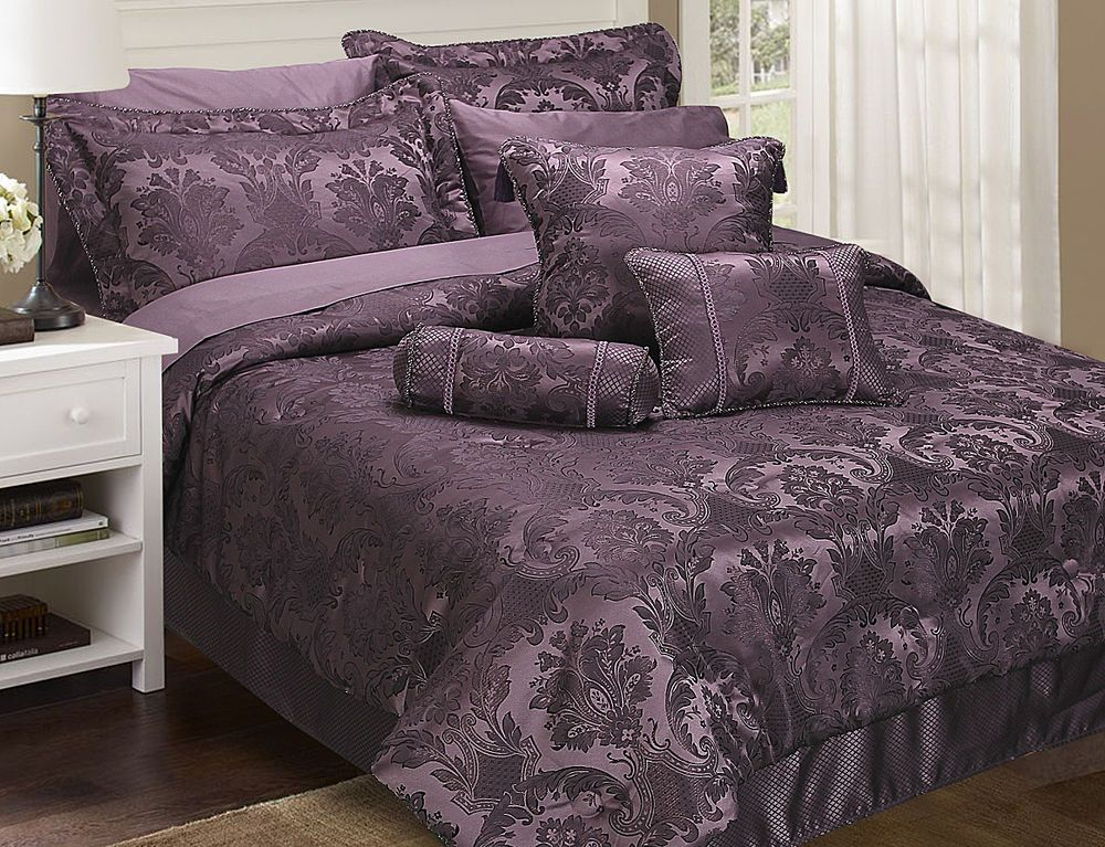 CARRINGTON PURPLE DAMSON DAMASK BEDSPREAD THROW DUVET