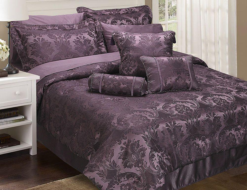 Carrington Purple Damson Damask Bedspread Throw Duvet Cover Curtains Cushions Damask Bedding Bed Decor Home